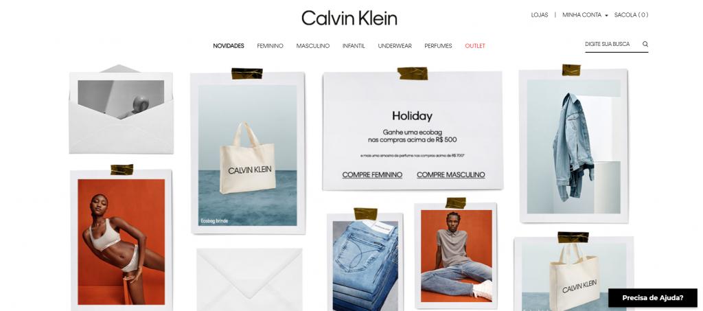 Imagem do site Calvin klein - sites para comprar roupas