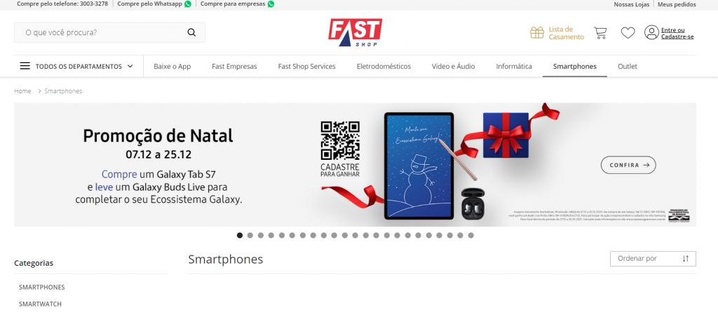 Imagem site fast shop um dos melhores sites para comprar celular