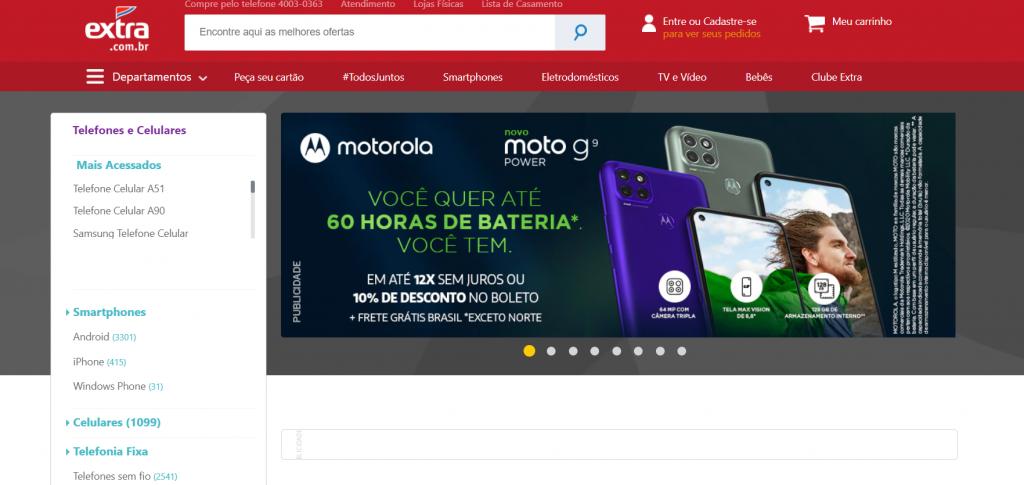Imagem site extra um dos melhores sites para comprar celular