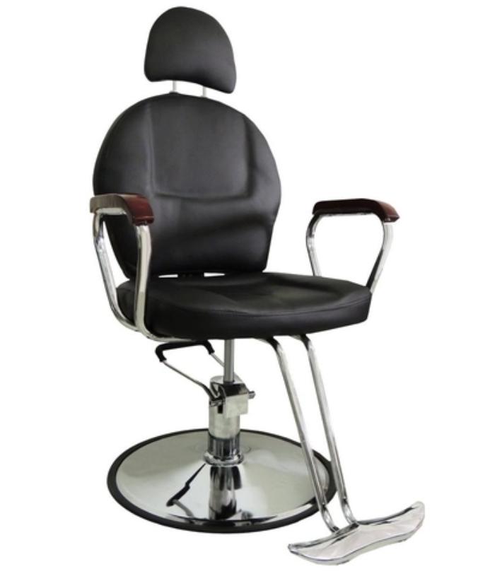 Modelo Cadeira de barbeiro da Pelegrin Hidráulica em Couro PU PEL-C1306 - Preto