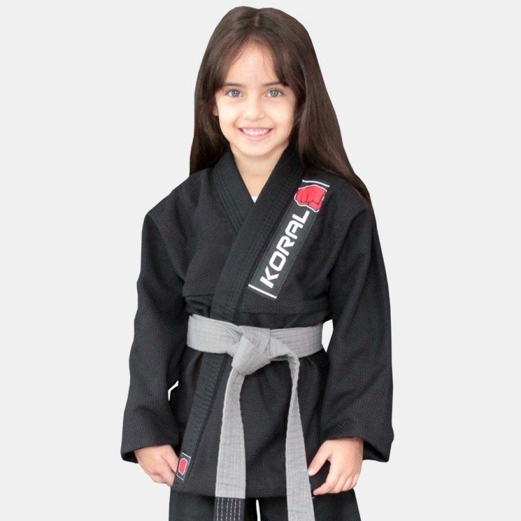 Modelo Kimono Jiu-Jitsu Koral Infantil Trançado - Preto