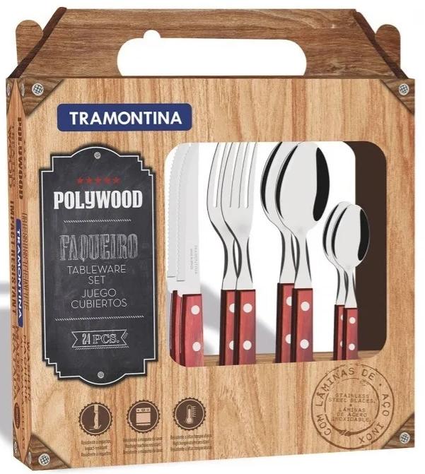 Modelo Faqueiro Tramontina Polywood Sortidos com Laminas de Aço Inox Castanho 24 peças