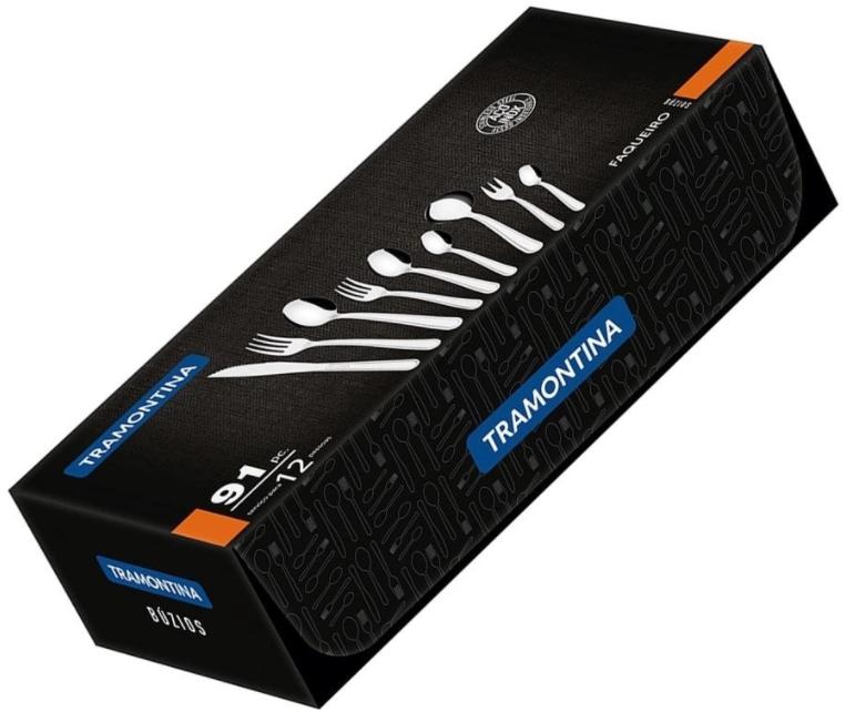 Modelo Faqueiro Tramontina Inox Búzios - 91 peças