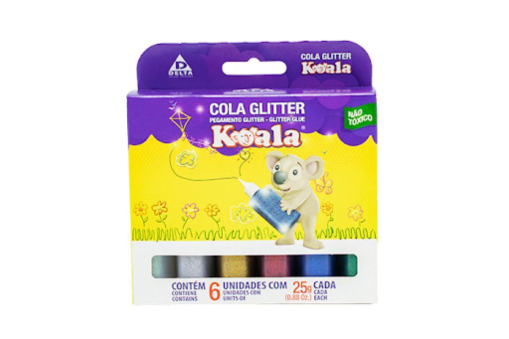 Cola colorida glitter koala
