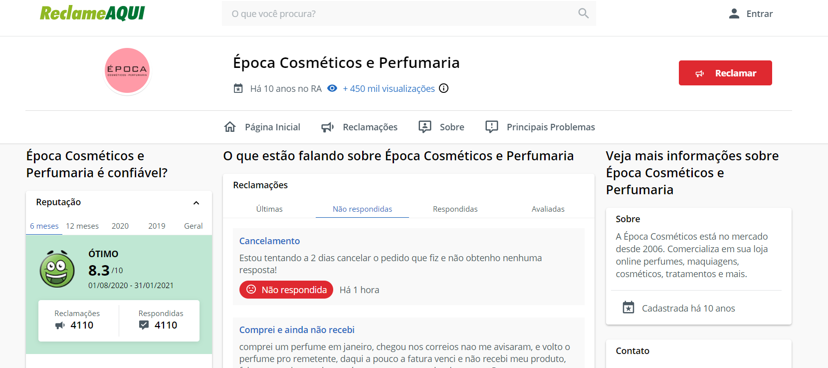 Época Cosméticos no reclame aqui