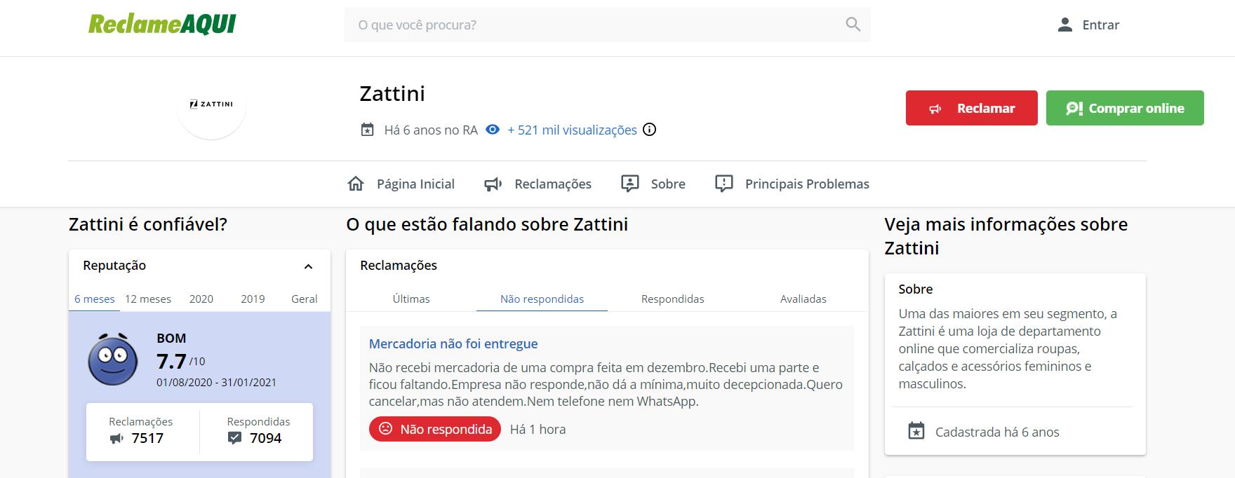 zattini reclame aqui
