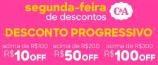 Cupom de Desconto Progressivo C&A, até R$100 OFF