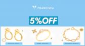 Cupom Francisca Joias 5% OFF na primeira compra